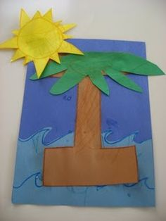 Letter of The Week I – No Time For Flash Cards I is for Island – palm tree letters, Caribbean decorations, hula music/dancing, pineapple snacks… Preschool Letter Crafts, Alphabet Letter Crafts, Abc Crafts, Preschool Projects, Kindergarten Crafts, Daycare Crafts, Classroom Crafts, Preschool Activities, Letter Tracing