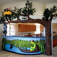 See photos of incredible custom themed reception desks created for pediatric dental offices. Dental Reception, School Reception, Hotel Reception Desk, Reception Desk Design, Children's Clinic, Office Waiting Rooms, School Murals, Pipe Lighting, Dental Office Design