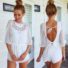 Sexy Backless Half Sleeve Solid Color Chiffon Jumpsuits #womenfashion #popular #beauty