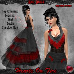 Rag Dollz Hearts On Fire - Charcoal & Red