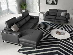 Eckgarnitur | Sofa mit Relaxfunktion in Leder | Sofanella Valiano