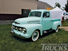 1951 Ford Built before the series, we had one a few years ago and I fell in love, it was the greatest truck and I'd love to have another. 1951 Ford Truck, F100 Truck, Chevy Trucks, Antique Trucks, Vintage Trucks, New Trucks, Cool Trucks, Pick Up, Green Motorcycle