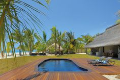 The Dinarobin Villas in Mauritius have their own plunge pools and overlook an amazing beach