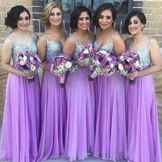 Classic Long A-line Bridesmaid Dress, Lavender Bridesmaid Dress, Beaded V-neck Chiffon Bridesmaid Gowns with Shining Beads, #01012777