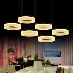 Office 3/6/9 pcs modern Led strip pendant lights for Living room ring shaped Dining Room Bar Led Commercial lighting luminaria-in Pendant Lights from Lights & Lighting on Aliexpress.com | Alibaba Group