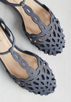 Bubble Tea Party Flat. When youre looking for a sweet afternoon complement to your favorite drinkable treat, look no further than these denim blue flats! #blue #modcloth