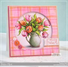 Tulips in Hobnail Pitcher Digital Stamp Set