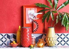 red and summery decor #decor #styling