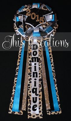 Dominique's graduation pin/corsage/mum in blue, black, white, cheetah, and… Homecoming Mums Senior, Homecoming Garter, Homecoming Spirit Week, Senior Year, Homecoming Dresses, Prom, Birthday Pins, Blue Birthday, Champagne Gift Baskets