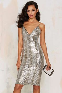 Rare London Stop and Stare Metallic Dress - Clothes | Best Sellers | Party Shop | Going Out | Body-Con | Sequins & Glitter