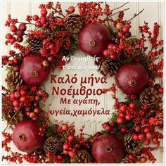 New Month Greetings, Hello November, Wreaths For Front Door, Front Doors, Morning Flowers, Greek Quotes, Xmas Decorations, Good Morning, Christmas Wreaths