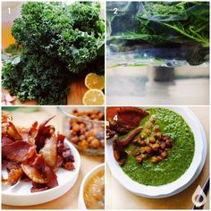 Sous Vide Kale Soup with Crispy Chickpeas and Bacon | Nomiku
