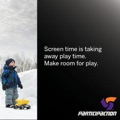 Inactivity has become a major health problem for Canadian children. Only five percent of Canadian kids accumulate at least 60 minutes of moderate- to- vigorous physical activity daily.   In January 2015, ParticipACTION launched a new campaign to increase awareness about how screen time is taking away play time. Get Moving, Canada, Physical Activities, Health Problems, Need To Know, Children, Kids, Physics, How To Become