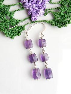 Amethyst Elegance Earrings, Amethyst Earrings, Genuine Amethyst Earrings, February Birthstone Earrinsgs by WaterRhythmGems on Etsy