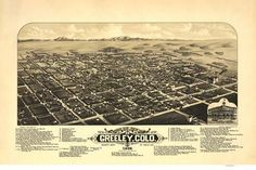 8 x 12 Reproduced Photo of Vintage Old Perspective Birds Eye View Map or Drawing of: Greeley, Colo. county seat of Weld Co. Stoner, J. Greeley Colorado, Birds Eye View Map, One Point Perspective, Beautiful Places To Live, County Seat, Old Maps, Library Of Congress, City Photo, Eyes