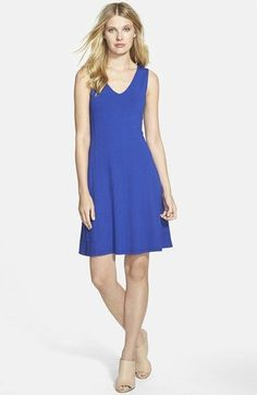Eileen+Fisher+V-Neck+Jersey+Fit+&+Flare+Dress+(Regular+&+Petite)+(Online+Only)+available+at+#Nordstrom