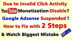 Monetization on this account has been disabled due to invalid click acti...