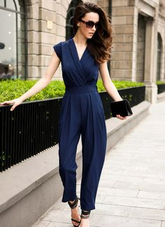 Blue Sleeveless V Neck Jumpsuit pictures