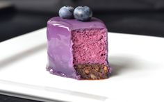 Blueberry mousse with a chocolate base and a blueberry milk glaze