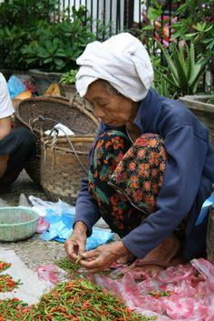 selling peppers at the market, Luan Praban, Laos