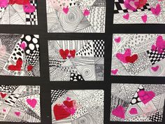 heart+zentangles! Did this with second graders as a valentines art project. The results looked great and they liked it! You just need black markets and red and pink tissue paper!