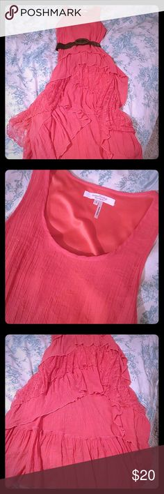 Adorable! Just add belt and cowgirl boots! Coral. Flowy. Lacy. High low. Too big. modern vintage botique Dresses High Low