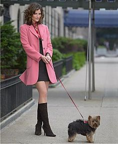 Lady in a pink coat.