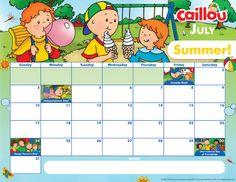 Printable Caillou Calendar – July 2016
