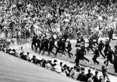 Scenes on the pitch at St Andrews after a riot broke out during the match between Birmingham City and Leeds United, May Many Glacier Hotel, Birmingham City Fc, Football Casuals, Sir Alex Ferguson, Leeds United, Venice Beach, Football Fans, Life Magazine, White Man