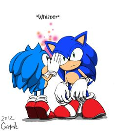 """Classic Sonic whispering something to Modern Sonic... """"Hey, Sonic! Why are you talking to yourself?"""" ;)"""
