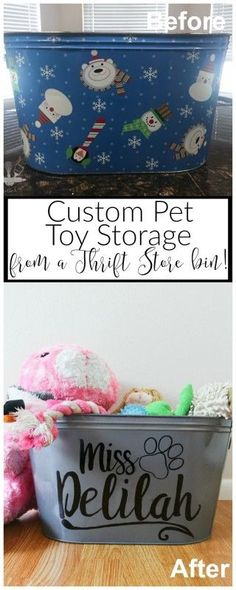 Take an ordinary thrift store bucket and turn it into a pretty custom pet toy storage bin your pet will love you for!