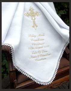 Baptism blankets and Christening shawls, baby gifts, personalised bibs and cushions