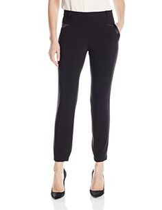 HALSTON HERITAGE Womens Slim Fit Pant with Charmeuse Contrast Black 8 ** Read more reviews of the product by visiting the link on the image.