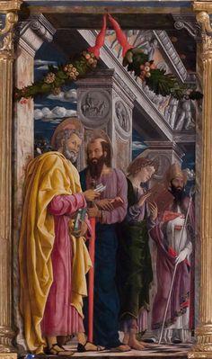 Andrea Mantegna-Pala di San Zeno (santi dello scomparto sinistro:san Pietro,san Paolo,san Giovanni evangelista,san Zeno), 1457-1459, tempera su tavola, 480x450 cm, Verona, basilica di San Zeno