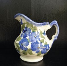 Art Pottery Cash Family Hand Painted Blue Floral Pitcher Creamer