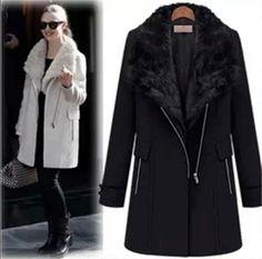 New Women's Winter warm Wool Fur Collar Thick 2in1 parka jacket Coat Overcoat #NEW #Parka