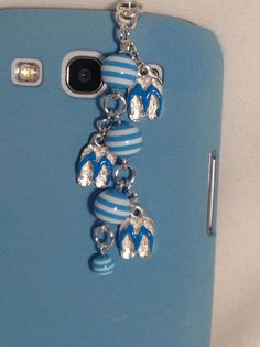Blue Flip Flops cell phone charm dust plug by PmBSparklesLinks, $12.00