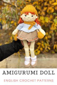 Knitted Doll Patterns, Crochet Animal Patterns, Crochet Doll Pattern, Knitted Dolls, Stuffed Animal Patterns, Crochet Dolls, Crochet Animals, Knitting Patterns, Crochet Doll Tutorial
