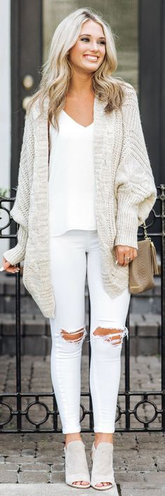#fall #outfits  women's beige knit cardigan and white distressed denim jeans