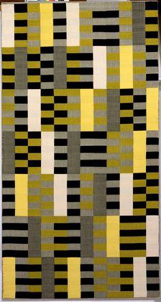 Anni Albers, Tenture WE 493/445, 1926 (refait en 1964), Triple-tissage en coton et soie synthétique noir, blanc et jaune, Bauhaus-Archiv Berlinn