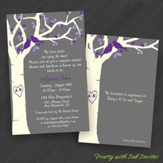 Wedding or Shower Invitations - White Tree with Birdies (Shown in Grey and White with Purple, Green, and Pink) from Pretty With Ink Invites