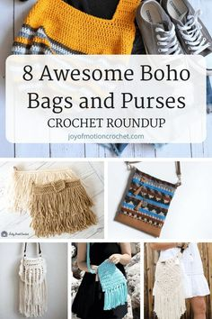 8 Awesome Boho Bags and Purses - Crochet Roundup Nothings better than having a few awesome Boho bags and purses ready to use. Crochet bags can be really versatile & can be used for many occasions. Bag Crochet, Crochet Shell Stitch, Crochet Clutch, Crochet Cross, Crochet Handbags, Crochet Purses, Free Crochet, Crochet Hoodie, Crochet 101