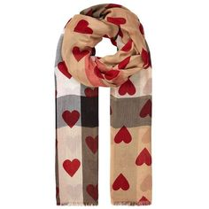 Burberry Shoes & Accessories Heart Print Check Scarf ($385) ❤ liked on Polyvore featuring accessories, scarves, burberry shawl, lightweight scarves, burberry scarves, checkered scarves and burberry