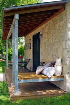great front porch idea  northworks modern rustic tiny stone cabin 004   Modern and Rustic 350 Sq. Ft. Tiny Stone Cabin