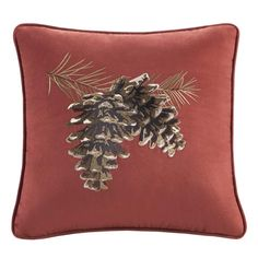 Brownstone Red Pine Cone Pillow