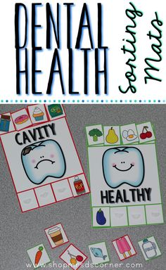 Dental Health Sorting Mats: Sorting is an essential skill that students need to learn in their early education years. With this set of dental health awareness sorting mats, students can sort 16 different objects by color (2 color mats, 8 different sorting pieces per mat).