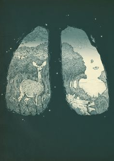 """Lungs by Herds Of Birds Gallery quality Giclée print on natural white, matte, ultra smooth, 100% cotton rag, acid and lignin free archival paper using Epson K3 archival inks. Custom trimmed with 1"""" border for framing."""