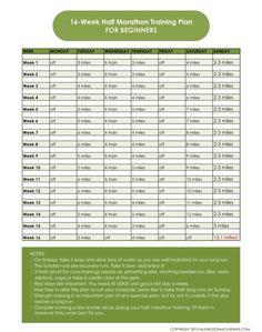 16 Week Half Marathon Training Plan {for Beginners} #halfmarathon #trainingplan #fitness #runchat