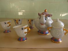 Beauty and the Beast tea set, featuring Mrs. Potts, Chip and a very sassy sugar pot. Unfortunately, it's discontinued and therefore crazy expensive on the internet.