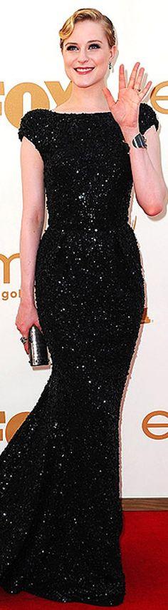 Rachel Wood looks stunning in Elie Saab column sequined gown